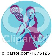 Retro Female Lacrosse Player Holding A Stick In A Purple And Blue Circle