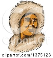 Clipart Of A Watercolor Portrait Of A Eskimo Inuit Man In A Hooded Fur Parka Royalty Free Vector Illustration