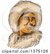 Watercolor Portrait Of A Eskimo Inuit Man In A Hooded Fur Parka