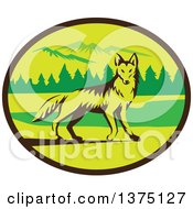 Clipart Of A Retro Alert Coyote In A Mountains And Woods Oval Royalty Free Vector Illustration by patrimonio