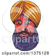 Watercolor Portrait Of A Male Sikh Wearing A Turban