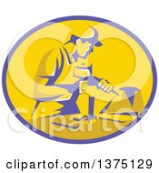 Clipart Of A Retro Stonemason Worker Using A Mallet And Chisel To Carve Marble In A Purple And Yellow Oval Royalty Free Vector Illustration by patrimonio