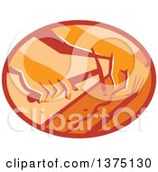 Clipart Of Retro Hands Of A Furniture Upholsterer Using A Hammer In An Oval Royalty Free Vector Illustration