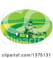 Clipart Of A Reto Man Racing A Go Kart In A Green Oval Royalty Free Vector Illustration