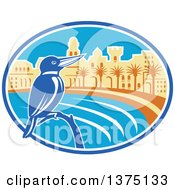Clipart Of A Retro Kingfisher Bird Perched Against A Mediterranean Coastal City In An Oval Royalty Free Vector Illustration