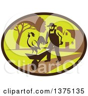 Clipart Of A Retro Amish Farmer Man Pushing A Wheelbarrow With A Crowing Rooster On A Farm Within An Oval Royalty Free Vector Illustration