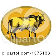Clipart Of A Retro Brahman Bull In Profile Inside A Green And Orange Oval Royalty Free Vector Illustration