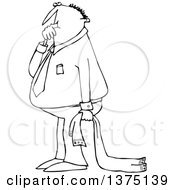 Cartoon Clipart Of A Black And White Businessman Sucking His Thumb And Holding A Blanket Royalty Free Vector Illustration