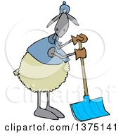 Cartoon Clipart Of A Sheep Wearing Winter Apparel Standing And Using A Snow Shovel Royalty Free Vector Illustration