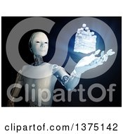 Clipart Of A 3d Android Robot With A Floating And Glowing Block Of Cubes Royalty Free Illustration