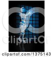 Clipart Of A 3d Humanoid Female Robot Using An Interface On Black Royalty Free Illustration