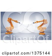 3d Orange Robotic Arms Holding A Blank Banner On A Shaded Background