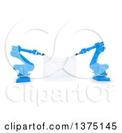 Clipart Of 3d Blue Robotic Arms Holding A Blank Banner On A White Background Royalty Free Illustration