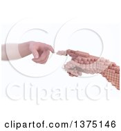 Clipart Of A 3d Caucasian Human Hand Reaching To Touch A Voxel Hand Reality Vs Simulation On A White Background Royalty Free Illustration