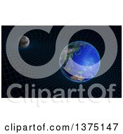 Clipart Of A 3d Moon And Earth Space Time Continuum Curvature And Gravity Concept Royalty Free Illustration