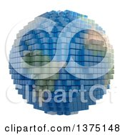 Clipart Of A 3d Planet Earth Made Of Voxel Cubes On White Royalty Free Illustration