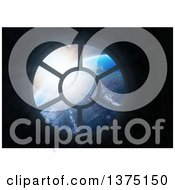 Clipart Of A 3d Space Station Window With A Veiw Of Earth Royalty Free Illustration by Mopic