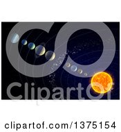 Clipart Of A 3d Solar System With The Theorised Ninth Planet X Royalty Free Illustration