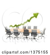 Clipart Of A 3d Green Leafy Arrow Over A Converence Table On A White Background Royalty Free Illustration