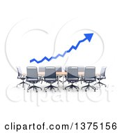 Clipart Of A 3d Blue Arrow Over A Converence Table On A White Background Royalty Free Illustration