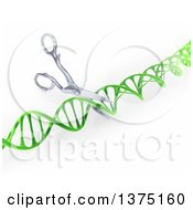 3d Green Dna Strand Being Cut By Scissors On A White Background