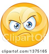 Cartoon Clipart Of A Yellow Emoji Smiley Face Emoticon With An Annoyed Expression Royalty Free Vector Illustration