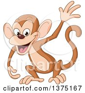 Cartoon Clipart Of A Happy Waving Monkey Royalty Free Vector Illustration