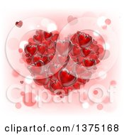 3d Cluster Of Red Hearts Over Pink White And Bokeh