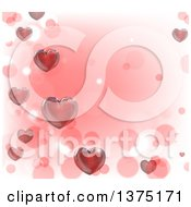 Valentines Day Background With 3d Red Hearts Over Pink And White With Bokeh Flares
