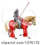 Clipart Of A 3d Fully Armored Jousting Knight Holding A Lance On A Horse Royalty Free Vector Illustration
