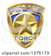 Clipart Of A 3d Gold Plice Force Badge With A Star Royalty Free Vector Illustration by AtStockIllustration