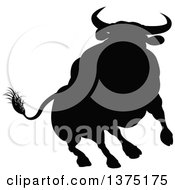 Clipart Of A Black Silhouetted Bull Royalty Free Vector Illustration
