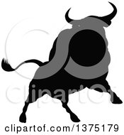 Clipart Of A Black Silhouetted Bull Charging Royalty Free Vector Illustration