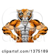 Clipart Of A Tough Bodybuilder Tiger Man Flexing His Big Muscles From The Waist Up Royalty Free Vector Illustration