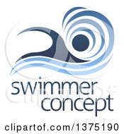 Clipart Of A Blue Swimmer Design With A Wave And Sample Text Royalty Free Vector Illustration