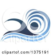 Clipart Of A Blue Swimmer Design With A Wave Royalty Free Vector Illustration