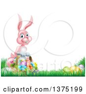 Clipart Of A Happy Pink Easter Bunny With A Basket Of Eggs And Flowers In The Grass With White Text Space Royalty Free Vector Illustration