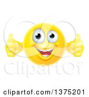 Clipart Of A Yellow Smiley Emoji Emoticon Giving Two Thumbs Up Royalty Free Vector Illustration