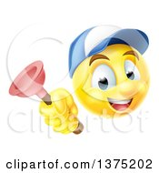 Clipart Of A Yellow Smiley Emoji Emoticon Plumber Holding A Plunger Royalty Free Vector Illustration