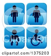 Clipart Of Shiny Blue Square Male Female Baby And Handicap Bathroom Icons Royalty Free Vector Illustration by AtStockIllustration