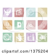 White Christian Icons On Pastel Colored Tiles