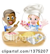 Clipart Of A Cartoon Happy Black Boy And White Girl Making Frosting And Star Shaped Cookies Royalty Free Vector Illustration