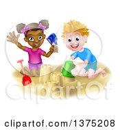 Happy White Boy And Black Girl Playing And Making Sand Castles On A Beach