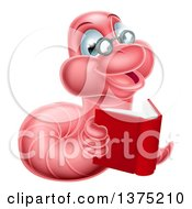 Clipart Of A Bespectacled Pink Earthworm Holding A Book Royalty Free Vector Illustration