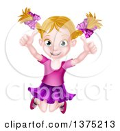 Clipart Of A Happy Dirty Blond White Girl Jumping And Giving Two Thumbs Up Royalty Free Vector Illustration by AtStockIllustration