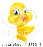 Clipart Of A Cute Yellow Easter Chick Pointing Around A Sign Royalty Free Vector Illustration by AtStockIllustration