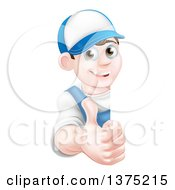 Clipart Of A Happy Young Brunette Caucasian Mechanic Man In Blue Wearing A Baseball Cap Giving A Thumb Up Around A Sign Royalty Free Vector Illustration by AtStockIllustration