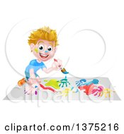 Clipart Of A Cartoon Happy White Boy Kneeling And Painting Artwork Royalty Free Vector Illustration