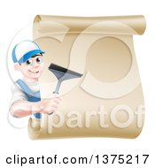 Clipart Of A Happy Young Brunette Caucasian Window Cleaner Man Holding A Squeegee Around A Scroll Sign Royalty Free Vector Illustration by AtStockIllustration