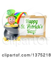 Clipart Of A Cartoon Leprechaun Smiling Over A Pot Of Gold At The End Of A Rainbow With A Happy St Patricks Day Sign Royalty Free Vector Illustration